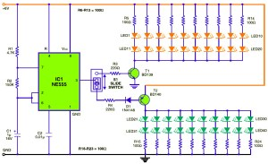 Traffic Baton with Bulb or LED Flasher  Circuit Schematic