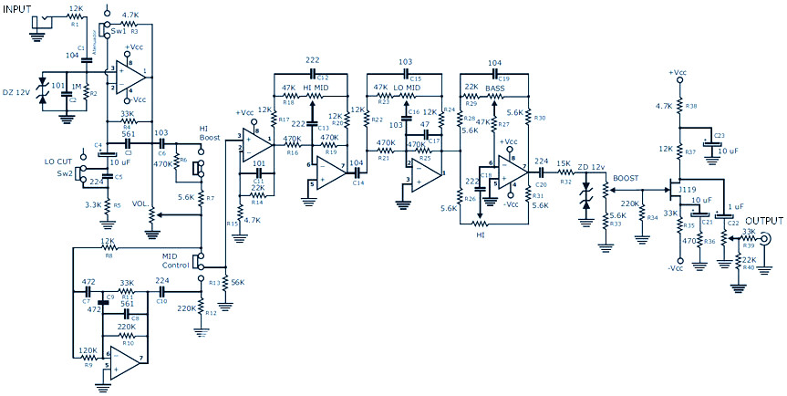 Bass Guitar Preamp Pedal Diy Schematic Amp Pcb Design