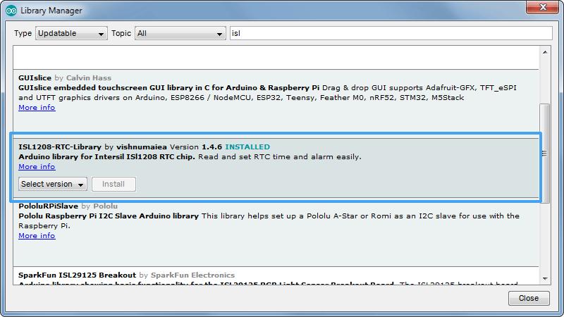 ISL1208-RTC-Arduino-Library-Manager-Screenshot