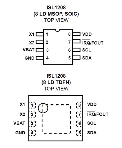 ISL1208 RTC pinout
