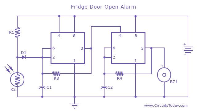 Fridge Door Open Alarm Circuit