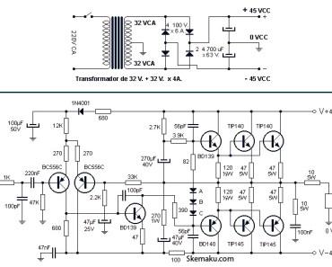 260W power audio amplifier circuit