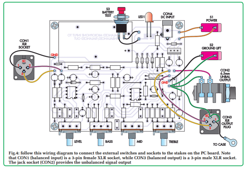 balanced microphone preamp circuit assembly