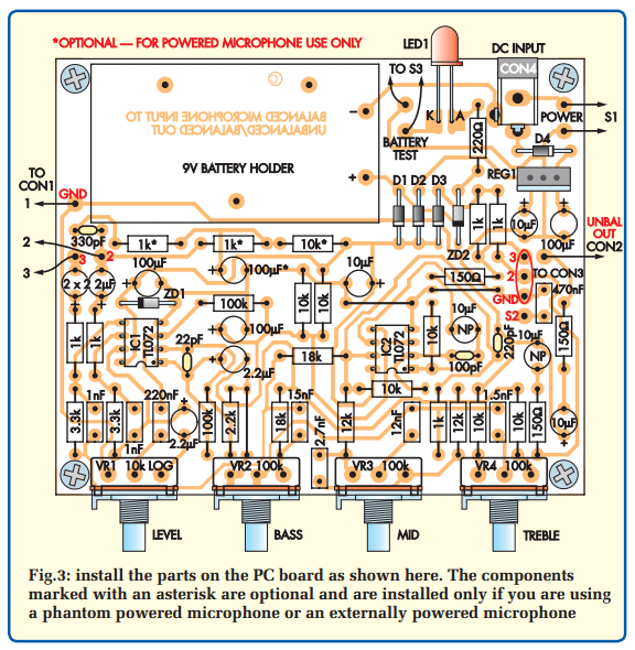 balanced microphone preamp circuit pcb layout