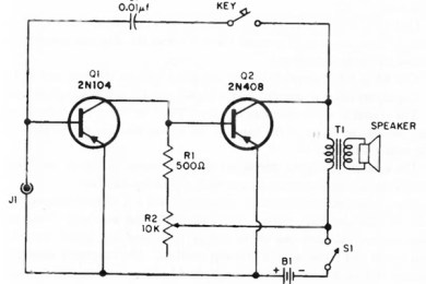 simple audio amplifier circuit with two transistors