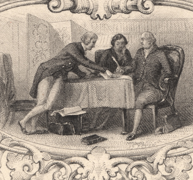 two men look at a document on a table while another points to it.
