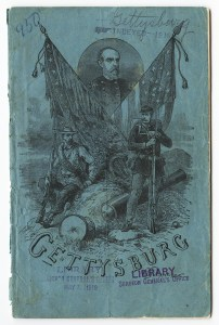 The cover of a pamphlet illustrated with soldiers and flags and bearing library marks