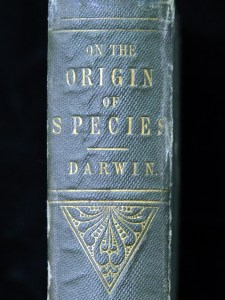 Title section of the binding of the Origin of Species first edition.