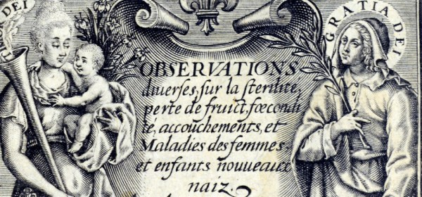 Detail of the engraved title page of Observations including a portrait of a woman and baby