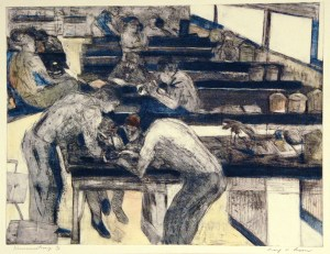 An impressionistic engraving of several figures working and sitting in a classroom full of lab tables