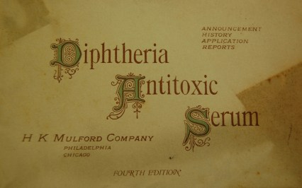 Detail from the cover of a booklet titled Diptheria Antitoxic Serum.
