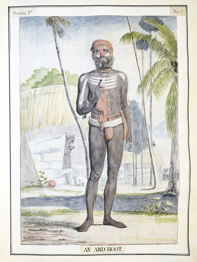 A hand colored etching of a man in loincloth and paint.