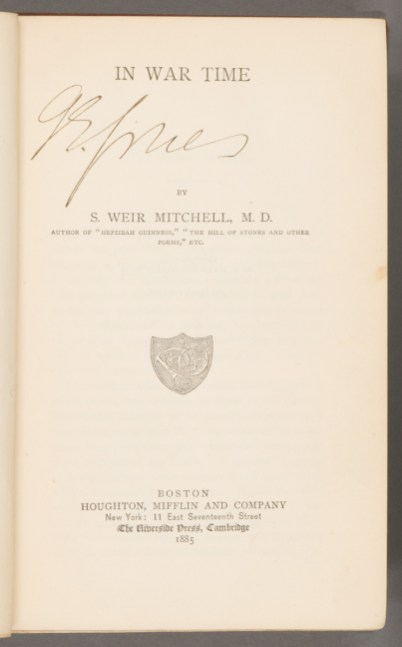 Title page of In war time. (Boston: Houghton, Mifflin and Company, 1885. The recipient, G.E. Jones, has signed his name on the title page under the title.