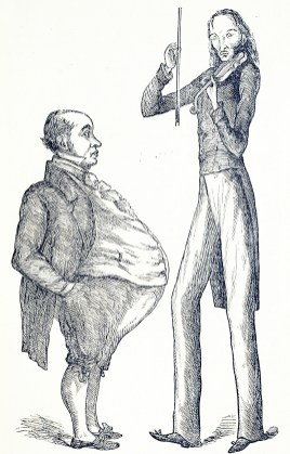 A short round man with a protruding stomach next to a very tall lean man.