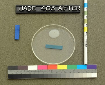 An adhesive sample in a glass dish, colored test strip and color chart for comparison.