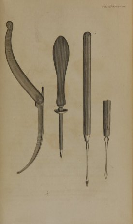 Drawings of four surgical instruments.