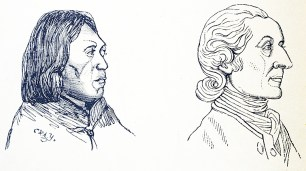 The profies of a man with a flat face and small nose and one with a large pointed nose.