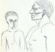 A sketch of a narrow chested man next to a deep chested man.