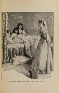 A woman in an apron with a watering can scolds three young girls in a bed.
