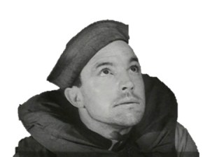 Gene Kelly as Seaman Bob Lucas wearing a life vest and sailor hat gazes upward.