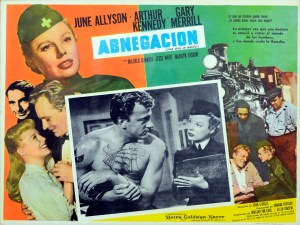 Advertisement for Abnegacion (The Girl In White) showing a still in which a womain in a uniform consults with an injured sailor.