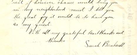 The back of a handwritten telegram from Sarah Bernhardt to Dr. Emanuel Libman.