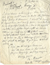 A letter from one of Sarah Bernhardt's doctors to another advising about her condition.