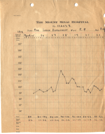 Sarah Bernhardt's medical chart showing a 103 degree peak in fever.