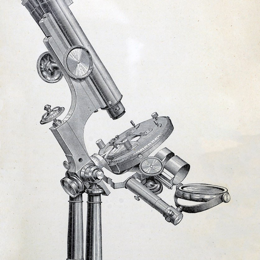 An engraving of a microscope, side view.