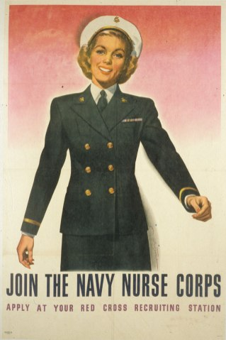 A nurse in Uniform smiles and beckons