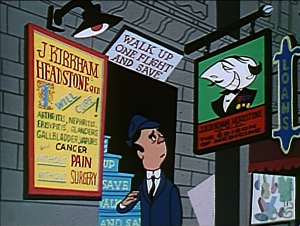 Ed looks at a advertisments for a shady looking quack doctor.