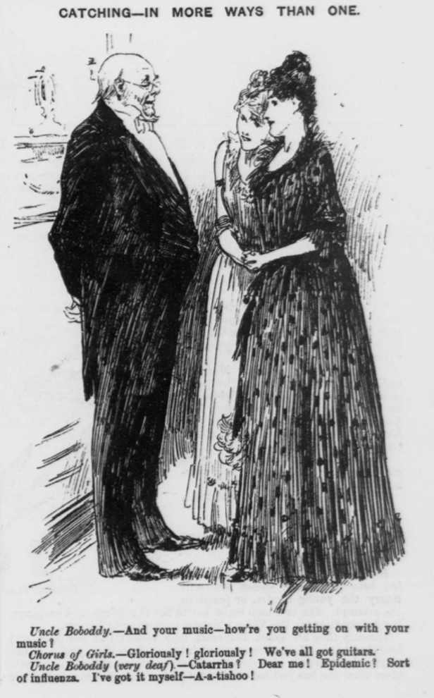 An illustration of a gentlman talking to two young women.