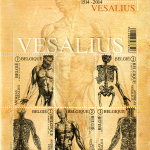 A commemorative sheet of 5 stamps illustrated with anatomical images from Vesalius' De Fabrica.