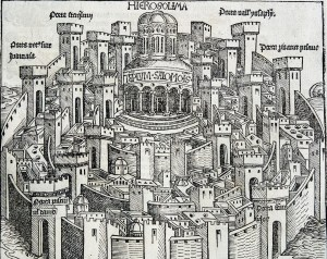 An engraving of a city surrounded by walls and towers with a temple at the center.