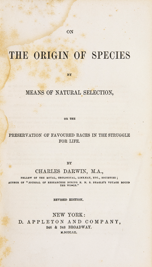 Title page of an 1860 translation of The Origin of Species into American English.