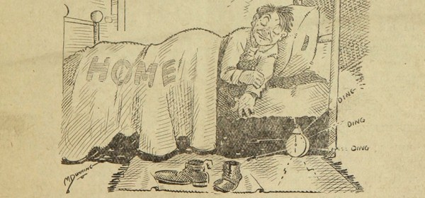 A cartoon of a man lying in a bed labeled home.