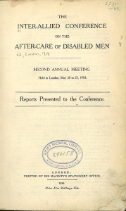 Title page of Inter-Allied-Conference on the After Care of Disabled Men, Second Annual Meeting held in London, May 20 to 25, 1918.