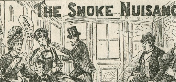 Interior view of a trolley or train car, where a man is smoking and causing considerable discomfort among the other passengers