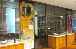 Exhibition cases and hanging banners from the From DNA to Beer exhibition at NLM.