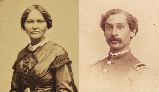 Two portraits of a woman in a fine dres and a man in uniform.