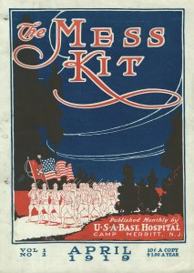 The cover of a printed newsletter illustrated with men marching under the american flag.