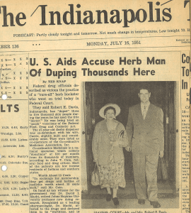 "Newspaper clipping with headline ""U.S. Aids Accuse Herb Man of Duping Thousands Here."""