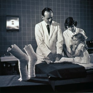 Little girl getting new leg cast