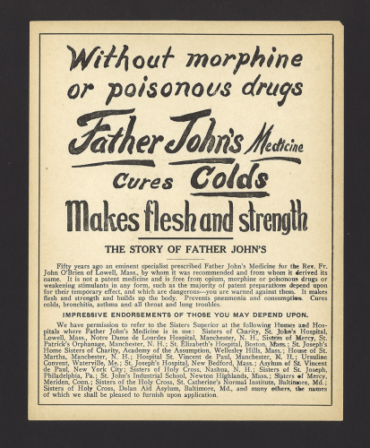 Without Morphine or Poisonous Drugs Father John's Medicine Cures Colds Makes Flesh and Strength.