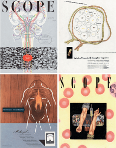 Four covers from Scope with a variety of anatomical illustrations.