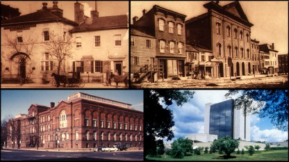 A composite of four photographs, historic images of NLM buildings and its current location.