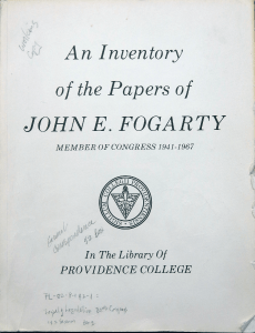 Title page of the Fogarty Collection inventory.
