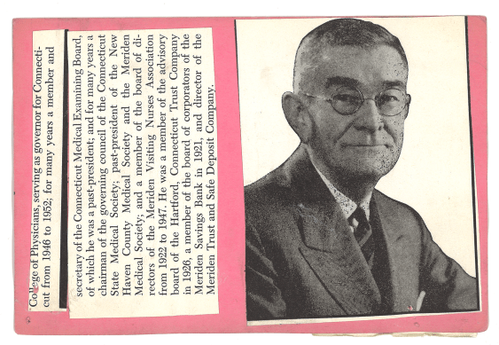 A halftone newspaper photo of a man in a suit pasted to a pink index card along with a text clipping.