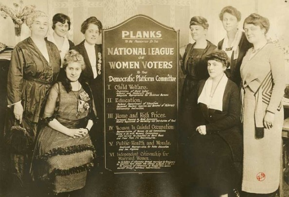 """Infancy and Maternity Care"" and public health education are part of the planks presented by the National League of Women Voters during the 1920 Democratic Convention Courtesy Collection of the Oakland Museum of California"