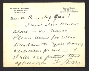 A note on Dr. John K Mitchell's letterhead giving instructions for treatment.